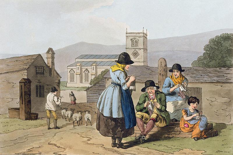 """""""Les tricoteurs de Wensleydale"""", par George Walker (1814)"""