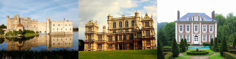 Comparaison montrant la différence entre un château, un manoir et une maison de maître