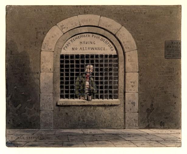 Gravure anglaise montrant la prison pour endettés de Fleet, à Londres.