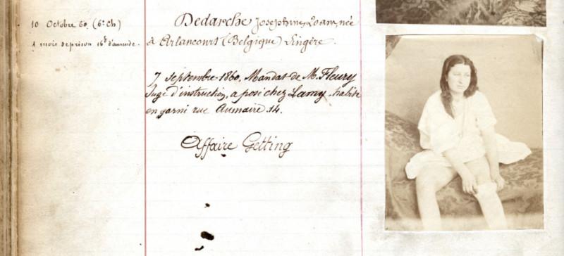 Registre de police anglais de l'époque victorienne montrant une jeune femme arrêtée et emprisonnée pour s'être prostituée illégalement