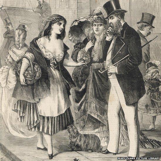 Gravure montrant une jeune prostituée en train de racoler dans la rue, à l'époque victorienne.