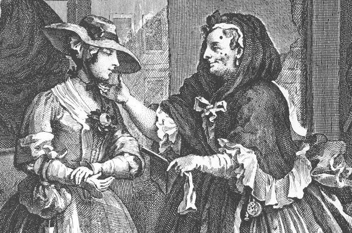 """Premier tableau de la suite anglaise """"A harlot's progress"""", par William Hoggart, qui raconte la vie d'une jeune femme devenue prostituée et qui finit par contracter et mourir de la syphilis"""