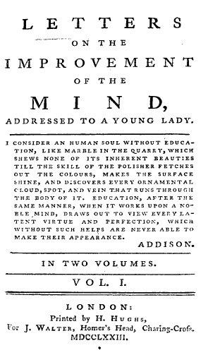 """Livre de conduite anglais, destiné à l'éducation des jeunes filles : """"Lettres sur l'amélioration de l'esprit"""", par Hester Chapone"""