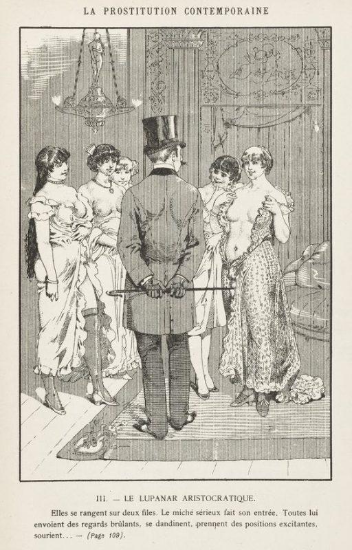"""Illustration extraite du livre """"La prostitution contemporaine: étude d'une question sociale"""", par Léo Taxil (1884), montrant un client de maison close faisant son choix parmi les prostituées"""