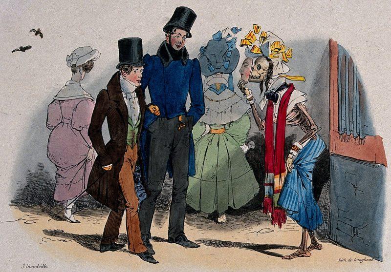 Caricature de Jean Grandville (1830) montrant la syphilis, déguisée en jeune fille aguichant les passants dans la rue