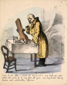 Caricature du XIXème siècle montrant les ravages du mercure, utilisé pour soigner la syphilis