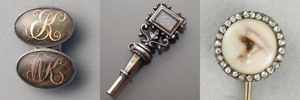 Bijoux de deuil de l'époque victorienne : bouton de manche et clé de montre contenant des cheveux du défunt, et épingle de cravate