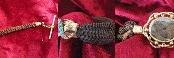 Bijoux de deuil datant de l'époque victorienne : bracelets tressés avec les cheveux du défunt