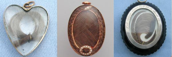 Bijoux de deuil datant de l'époque victorienne contenant des cheveux du défunt
