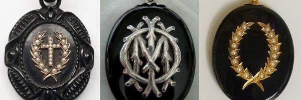 Bijoux de deuil datant de l'époque victorienne en matériaux noirs : jais, émail et onyx