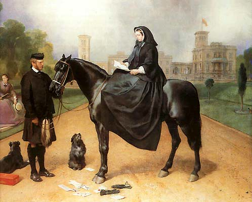 La reine Victoria en habits de veuve, avec John Brown, par E. H. Landseer (fin des années 1860)