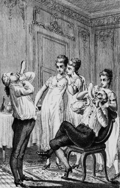 Illustration de Casanova (fin XVIIIème) soufflant dans un préservatif pour vérifier qu'il n'est pas troué