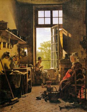 Intérieur d'une cuisine (Martin Drolling, 1815), une oeuvre peinte avec du brun de momie