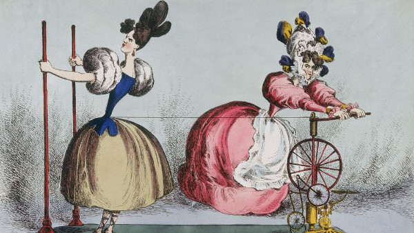 Caricature de 1830, par William Heath, à propos de la mode du corset
