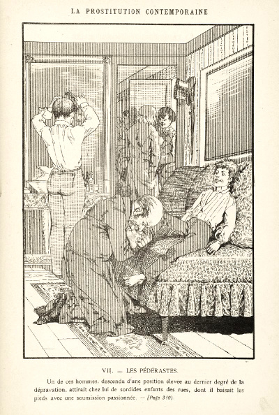 Gravure tirée du livre La prostitution contemporaine (Léo Taxil, 1884)